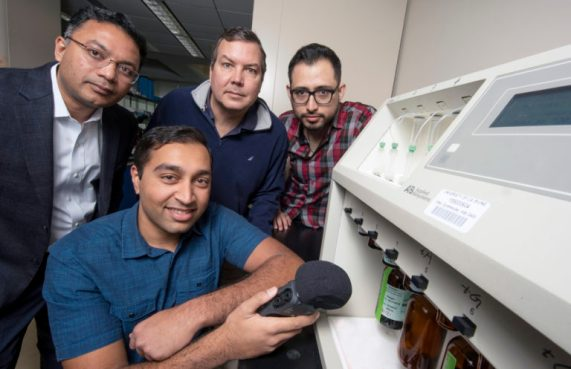 UCI researchers who helped discover that hackers can steal genetic blueprints by interpreting the sounds emitted by a DNA synthesizer are (from left) Mohammad Al Faruque, associate professor of electrical engineering & computer science; Arnav Malawade, a graduate student in Al Faruque's lab; John Chaput, professor of pharmaceutical sciences; and Sina Faezi, also a graduate student in Al Faruque's lab. Steven Zylius / UCI